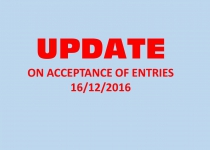 UPDATE ON THE ACCEPTANCE OF ENTRIES